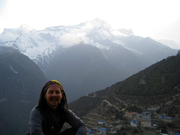David took this shot of me overlooking Namche Bazaar